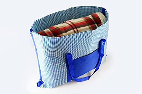 Portable Blue Beach Mat Bag | Easy to Carry Folding Outdoor Blanket with Protective Ziplock Storage Bags & Blow Up Pillow