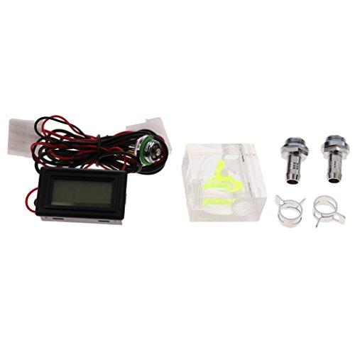 non-brand Sharplace Wasserkühlung 3-Wege Durchflussmesser mit Digital Thermometer Gewindeanschluss