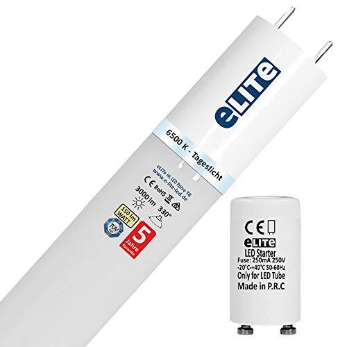 eLITe HL LED Röhre T8 mit Starter G13 | 120 cm 6500K / Tageslicht High Lumen 3000 lm | 150lm/W | 330° | Glas bruchresistent | kein Durchhängen | für Behörden und Firmen geeignet | ersetzt Leuchtstoffröhre | TÜV (Elite-led)