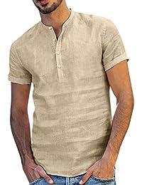 Vovotrade Camicia Uomo Camicie di Lino a Maniche Corte con V Collo Camicia