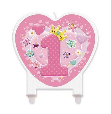 Big Party Vela con Forma de Corazón Rosa 1° Cumpleaños, Color, 73133_ FB