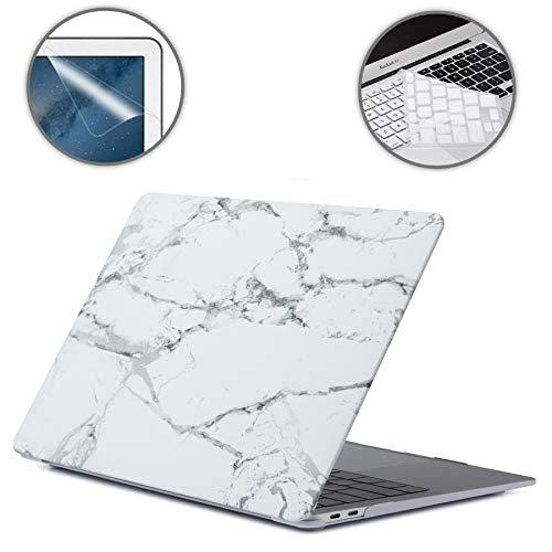 i-Buy Harte Schutzhülle Hülle für Apple MacBook 12 Zoll (Modell A1534) + Tastaturschutz + Schutzfolie- Weisser Marmor