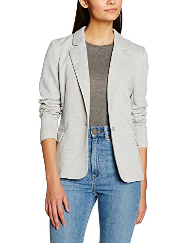 VERO MODA Damen Anzugjacke VMJULIA LS Blazer DNM NOOS, Grau Light Grey Melange, 38