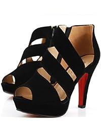 Zapatos de tacón alto de las sandalias del verano de YCMDM Zapatos de las mujeres de los zapatos únicos Cremallera fina con la plataforma impermeable