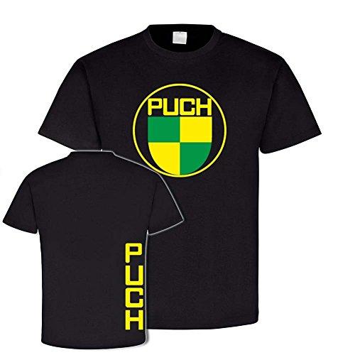 Copytec Puch Vintage T-Shirt Classicer Motorradbekleidung Motocross Motorradzubehör Geländemotorrad #24143, Farbe:Schwarz, Größe:Herren 4XL