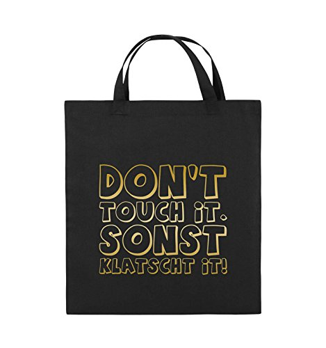 Comedy Bags - DON'T TOUCH IT - KLATSCHT - Jutebeutel - kurze Henkel - 38x42cm - Farbe: Schwarz / Pink Schwarz / Gold