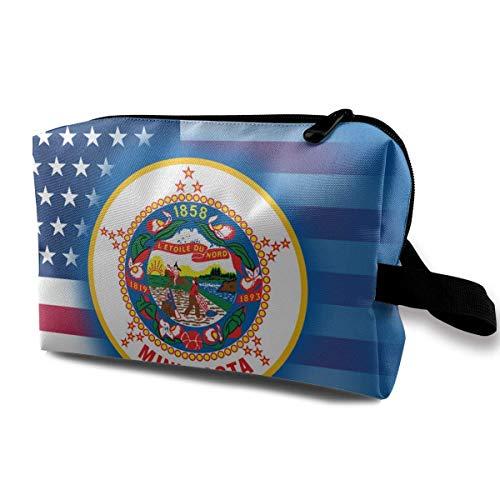 USA Minnesota State Flag Kleine Kosmetiktaschen Reise Make-up Tasche Modischer Veranstalter -