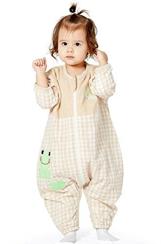 Chilsuessy Unisex Babyschlafsack mit Beinen Unwattiert aus 100% Baumwolle Kinder Langarm Schlafanzug Schlafsack mit Füßen, Frosch, 100/Koerpergroesse 110-120cm (Frosch Baumwoll-schlafanzug)