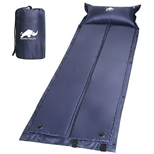 Rhino Valley Selbstaufblasbare Luftmatratze, Wasserdicht, Leicht und Gemütlich Sleeping Pad Luftbett mit aufblasbarem Pillow für Outdoor Camping, Wandern, Reise, Trekking, Marineblau