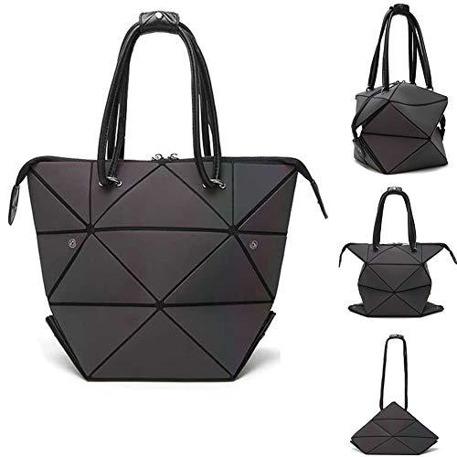 Parnerme Mode geometrische veränderbare Form Tasche leuchtenden oberen Griff Satchel tägliche Arbeit Tote Schultertasche große Einkaufstasche holographische Handtasche für Frauen (Colorful-1) -