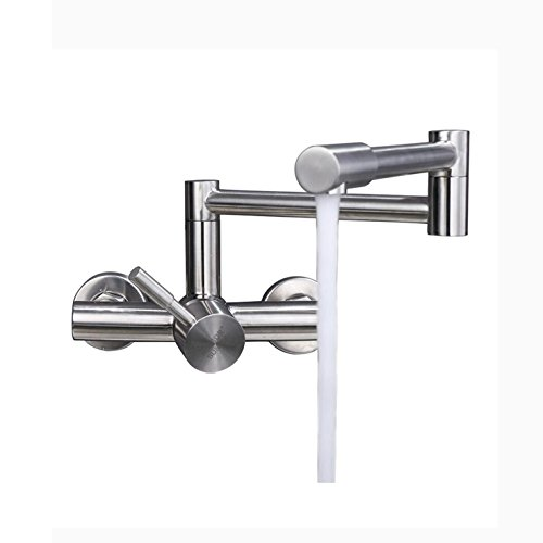 SJQKA-304 acciaio inossidabile doppio foro rubinetto, muro di tipo cucina il caldo e il freddo, il balcone lavandino, piatto del rubinetto, piegando un rubinetto