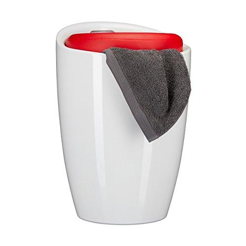 Relaxdays Badhocker Zweifarbig, Rund, Kunststoff, abnehmbares Sitzkissen, 28 l Stauraum, Wäschekorb, Tragegriff, Rot (47 Sitzfläche Runde)
