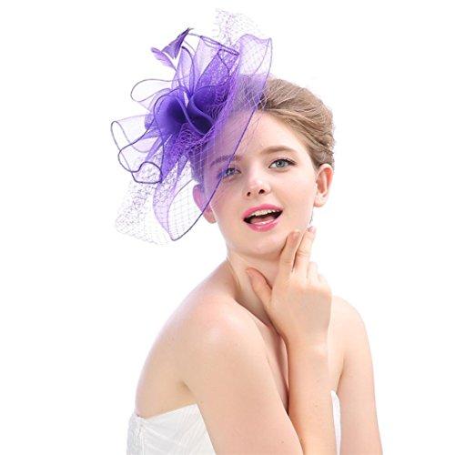 Frauen Blume Mesh Ribbons Federn Stirnband Cocktail Tea Party Hut Kopfbedeckungen Damen Elegant Fascinator Hut Braut Hair Clip Accessoires Durchsichtigen Kamm Wählen Sie Cocktail Royal Ascot (Lila)