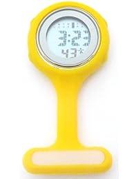 QBD Yellow Digital Unisex Multi Function Silicone Nurses/Brooch/Tunic/Fob/Pocket/Carabiner Watch
