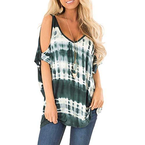 ALISIAM Tops Damen Sommer Elegant Lang Mode Oberteile Kurzarm lose V-Ausschnitt Tau sollte T-Shirt Freizeit Tops Drucken - 10 Jeans Dollar Unter Süße