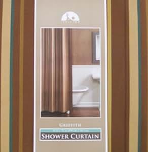 Griffith de luxe tissé à rayures Rideau de douche en tissu dans Avalon Doré Marron,