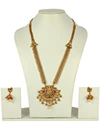 MUCH MORE Traditional Temple Jewellery Long Polki Necklace Set For Women's