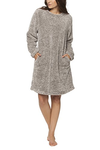 maluuna - Damen Fleece-Kleid, Kuschelkleid, Fleece-Pullover, Loungekleid, Nachthemd, Homewear-Kleid, Fleecekleid, Longshirt, Oversize Shirt, Oversized Pullover, Größe:M, Farbe:offwhite/braun (Fleece-kleid)