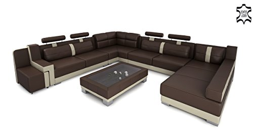 XXL Wohnlandschaft Leder Big Sofa Couch Ecksofa Ledersofa Ledercouch U-Form Designsofa KÖLN