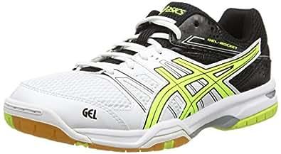 Asics Gel-Rocket 7, Herren Volleyballschuhe, Weiß (White/Flash Yellow/Black 0107), 39 EU