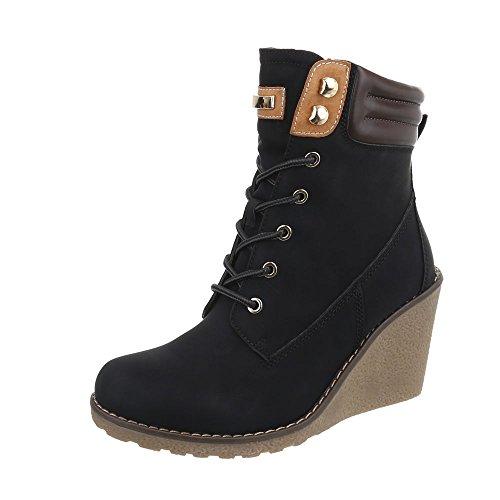 Ital-Design Schnürstiefeletten Damen-Schuhe Schnürstiefeletten Keilabsatz/Wedge Keilabsatz Schnürsenkel Stiefeletten Schwarz, Gr 38, 6817-