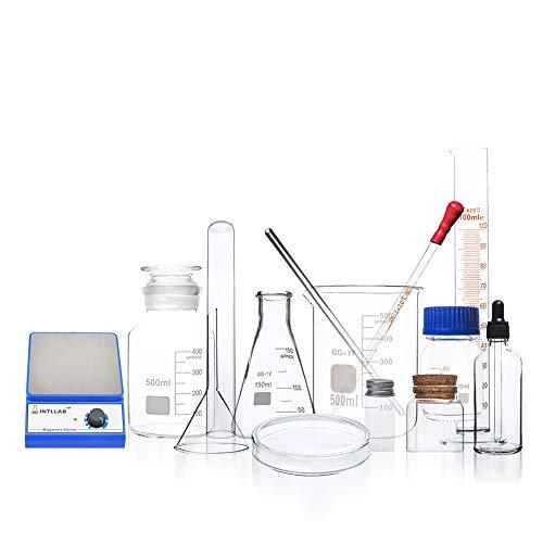 Labormagnetrührer Mischer, Chemie Glaswaren Borosilikatglas Becher Messbecher Dreieck Flasche Glasstab Petrischale Versiegelte Flasche Organisches Chemisches Vorbereitungs Instrument