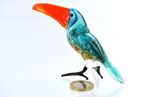 Tucán–Turquesa azul Figura de vidrio de 3Cristal Figura Pája