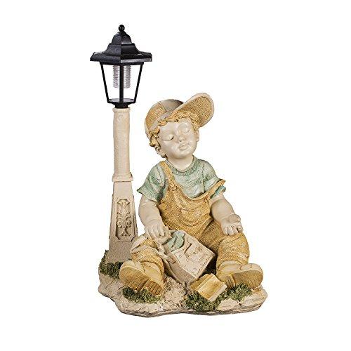 Jungenfigur, Kleiner Junge NF28801F , Groß 52 cm hoch , Gartenfigur Junge , Deko Figur mit LED...