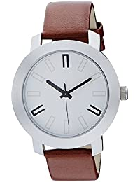 DLG New Special Collection Brown Round White Dial Brown Leather Strap Wrist Watch For Boys And Men