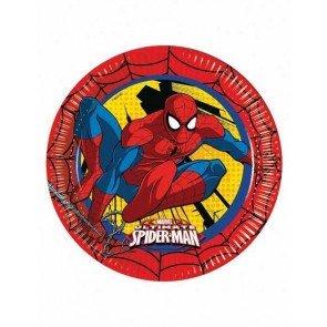 Ciao Procos 86668 Ultimate Spider Man Power Lot de 8 Assiettes en Carton, Ø23cm, Rouge/Jaune/Bleu