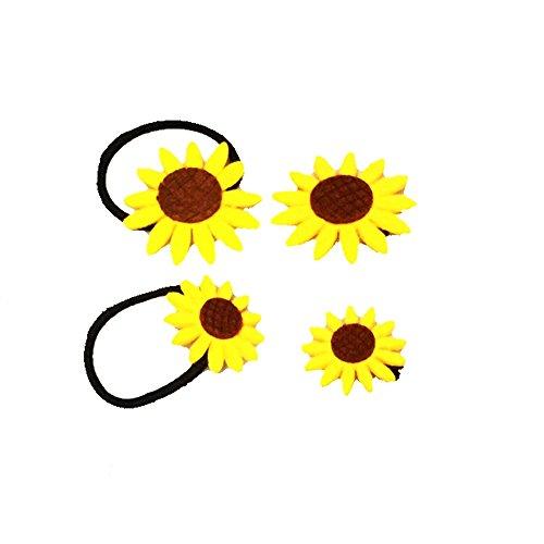 Little Sporter Sonnenblume design Mädchen Kinder Pferdeschwanzhalter Haargummi Haarseil Harrband Haarschmuck 4 Stück