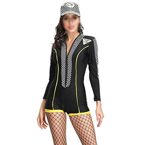 YCLOTH Damen Sexy Racing Anzüge, Cheerleading Uniformen Professionelle Rennfahrer, Automodelle Catwalk Bekleidung, Material, Schwarz, M 0.00watts (Rennfahrer Kostüm Kinder Mädchen)