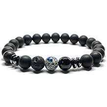 GOOD.designs Chakra-Bracciale in vera nero Naturale-pietre Onice, Chakra-ciondolo, motivazione-braccialetti (marmo blu)