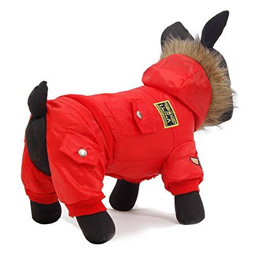 Feidaeu Pet Dog Jumpsuit Warmer Trainingsanzug mit Multi-Pocket-DekoPuppy-Mantel mit Kapuze - Pet Clipper Pocket