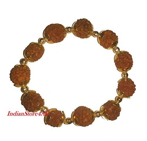 IndianStore4All Rudraksha Bracelet Gold Plated Cap