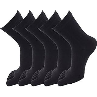 Evedaily Damen Socken Zehensocken Baumwolle Sneakersocken 35-39 Schwarz (5 Paar)
