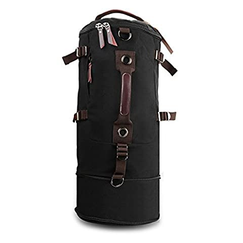 Qyuhe® Canvas Backpack Man Hiking Daypack Cylinder Rucksack Perfect for Travel Gym Sports Outdoor School Bag, Lengthen Black