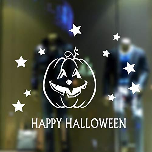 sverzierung Halloween-Kürbis-Glaswohnzimmer-Schlafzimmer-Dekoration, Weiß ()