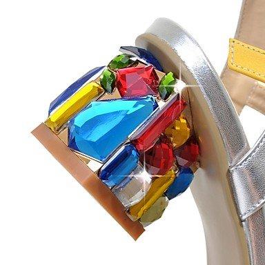 LFNLYX Donna Sandali Comfort estivo cinturino alla caviglia PU Office & Carriera Party & serata informale Chunky tacco fibbia cristallo Split JointBlue giallo Blue