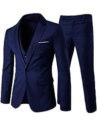 Costume homme formel d'affaire de couleur uni un bouton à la mode slim fit trois pièces