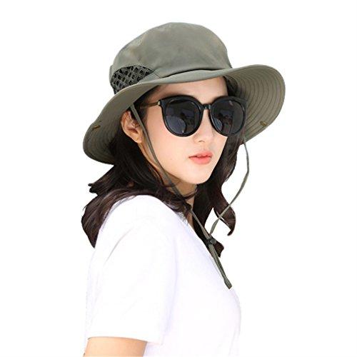 Xianshu Quick-Trocknen Eimer Hut boonie Outdoor Mesh Fishman Hut (Grün) Design Eimer Hüte Für Männer