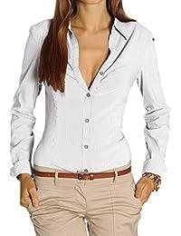 Bestyledberlin Damen Blusen gestreift, Streifendessin Hemden tailliert, Stretch Oberteile t25z