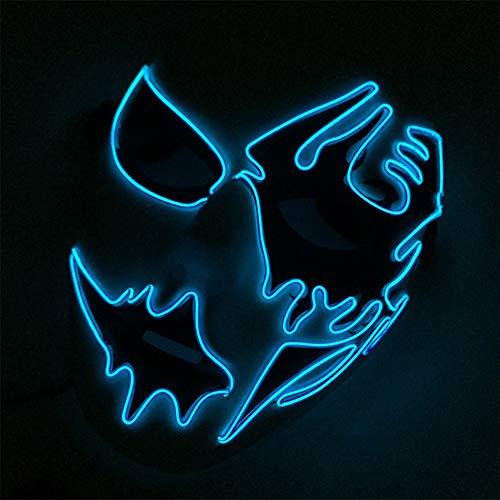 AchidistviQ Halloween-/Cosplay-Maske, erschreckend, LED, EL Draht, beleuchtet,...