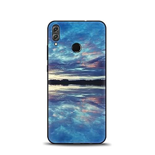 Cover Honor View 10 Lite Nero Silicone, SpiritSun Morbido TPU Flessibile Cover per Honor View 10 Lite/Huawei Honor 8X Custodia con Antiurto e AntiGraffio Smartphone Bumper Case-Cielo Blu