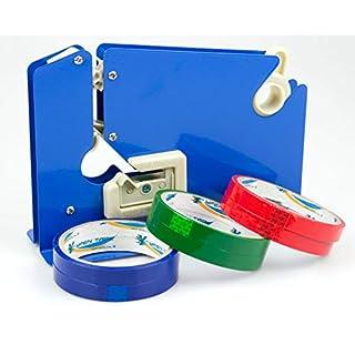 Beutelverschließer + 6 Rollen Tape für Früchte, Gemüse & Brot (Blau Metall Bag Neck Sealer)