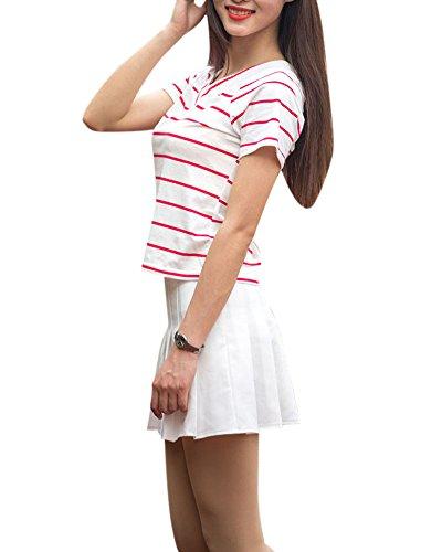 Plissee Tennis Rock (Damen A-Linie Schulmädchen-Stil Skater Röcke Faltenrock Schuluniformtaillen Rock Tennis Rock Weiß S)