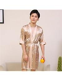 fafee9eb21 OHlive Men s Summer Dragon Printed Bathrobe Medium Sleeves Lapel Bathrobe  Nightgown Pajamas Cardigan (Color