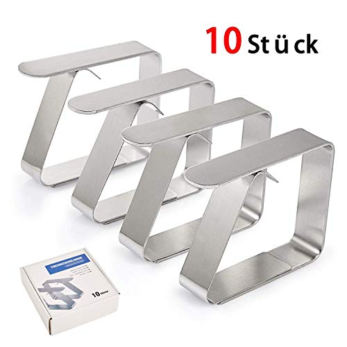 Happylife Tischdeckenklammer, 10er-Set Extra Dick & Stark (1.6mm) Edelstahl(Größe: 6,53 x 1,51 x 4,98 cm) Cuisine Tischtuchhalter, Tischtuchklammern - Edelstahl Tischplatte