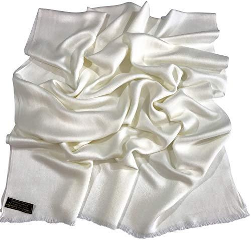 CJ Apparel Cremefarben Normallack Design Nepalesischer Fransenschal Pashmina Schal Stola Wurf NEU -