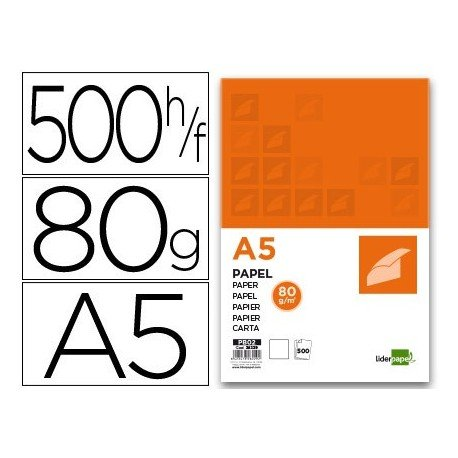 Liderpapel PB02 - Pack de 500 hojas de papel, A5, 80 g